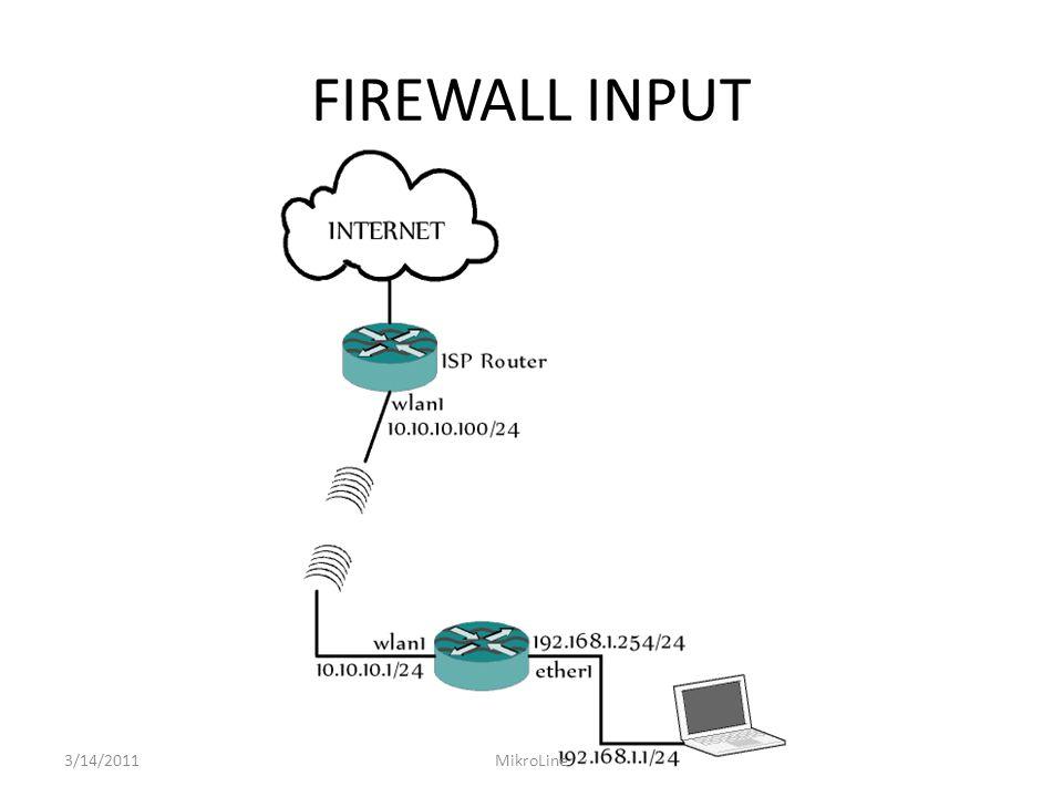 FIREWALL INPUT Jika diinginkan suatu konfigurasi firewall filter untuk melakukan blok semua komputer yang menuju router, kecuali laptop anda yang memiliki IP Address 192.168.1.1, maka akan dibutuhkan 2 aturan firewall input 3/14/2011MikroLine