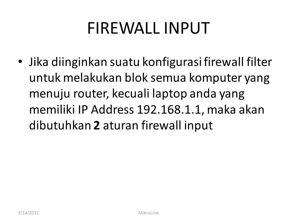 FIREWALL LOG INPUT 3/14/2011MikroLine