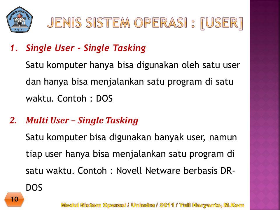 1.Single User - Single Tasking Satu komputer hanya bisa digunakan oleh satu user dan hanya bisa menjalankan satu program di satu waktu. Contoh : DOS 1