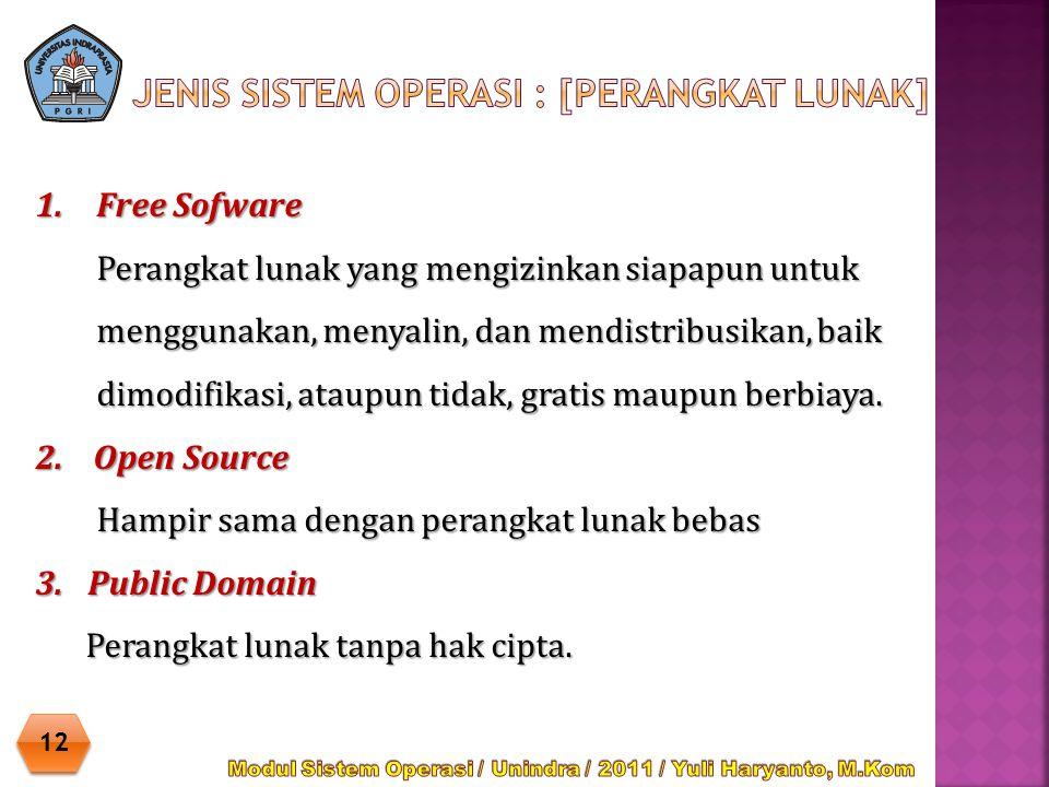 1.Free Sofware Perangkat lunak yang mengizinkan siapapun untuk menggunakan, menyalin, dan mendistribusikan, baik dimodifikasi, ataupun tidak, gratis m