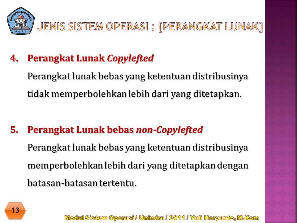 4.Perangkat Lunak Copylefted Perangkat lunak bebas yang ketentuan distribusinya tidak memperbolehkan lebih dari yang ditetapkan. 5.Perangkat Lunak beb