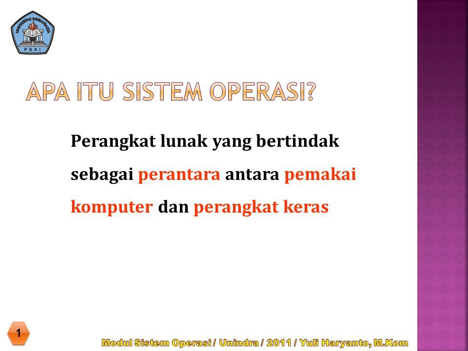  Sistem Operasi adalah sekumpulan rutin perangkat lunak yang berada di antara program aplikasi dan perangkat keras.
