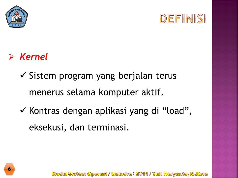 """ Kernel Sistem program yang berjalan terus menerus selama komputer aktif. Kontras dengan aplikasi yang di """"load"""", eksekusi, dan terminasi. 6 6"""