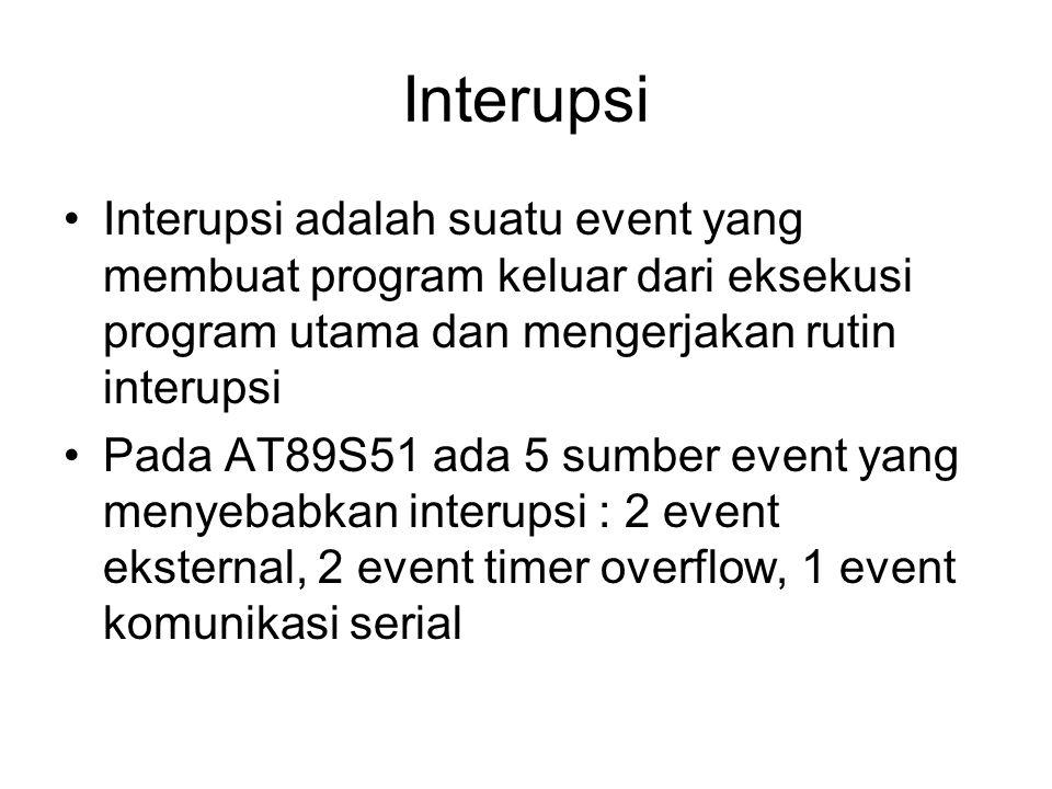 Interupsi Interupsi adalah suatu event yang membuat program keluar dari eksekusi program utama dan mengerjakan rutin interupsi Pada AT89S51 ada 5 sumber event yang menyebabkan interupsi : 2 event eksternal, 2 event timer overflow, 1 event komunikasi serial