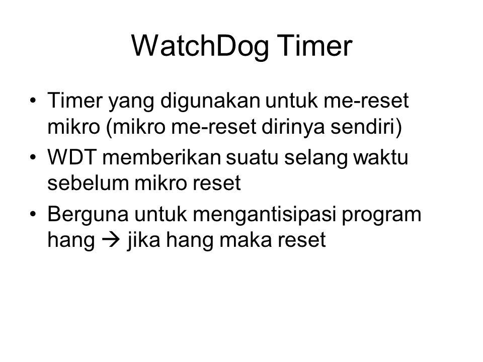 WatchDog Timer Timer yang digunakan untuk me-reset mikro (mikro me-reset dirinya sendiri) WDT memberikan suatu selang waktu sebelum mikro reset Berguna untuk mengantisipasi program hang  jika hang maka reset