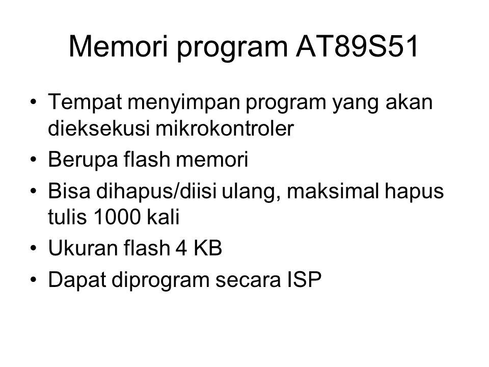 Memori program AT89S51 Tempat menyimpan program yang akan dieksekusi mikrokontroler Berupa flash memori Bisa dihapus/diisi ulang, maksimal hapus tulis 1000 kali Ukuran flash 4 KB Dapat diprogram secara ISP