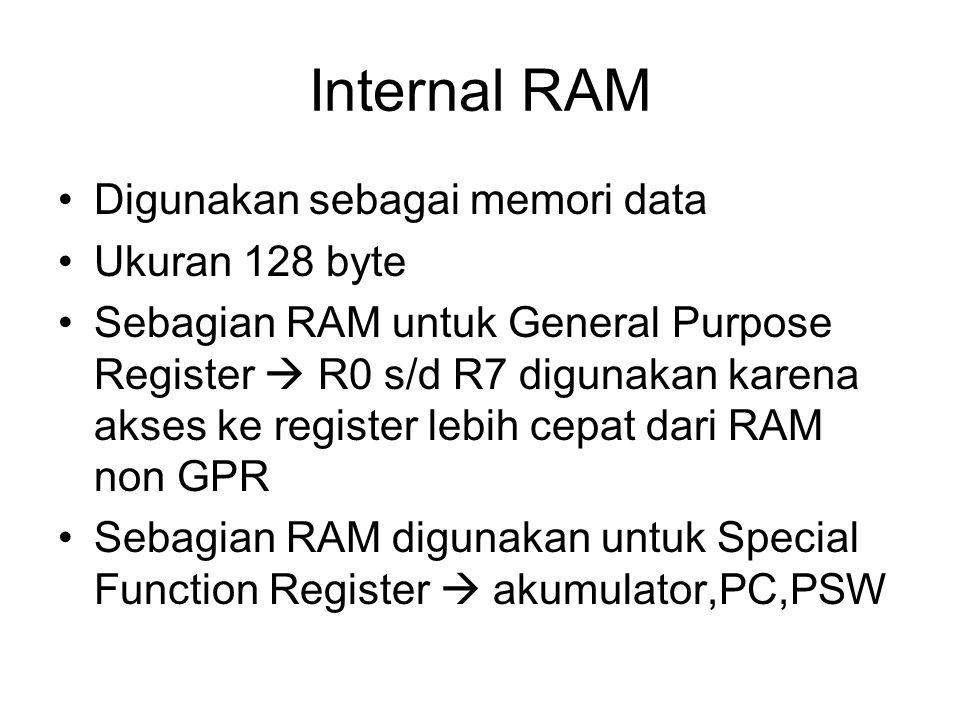 Internal RAM Digunakan sebagai memori data Ukuran 128 byte Sebagian RAM untuk General Purpose Register  R0 s/d R7 digunakan karena akses ke register lebih cepat dari RAM non GPR Sebagian RAM digunakan untuk Special Function Register  akumulator,PC,PSW