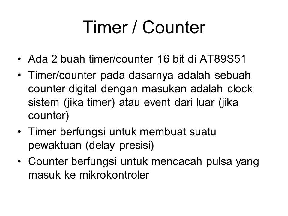 Timer / Counter Ada 2 buah timer/counter 16 bit di AT89S51 Timer/counter pada dasarnya adalah sebuah counter digital dengan masukan adalah clock sistem (jika timer) atau event dari luar (jika counter) Timer berfungsi untuk membuat suatu pewaktuan (delay presisi) Counter berfungsi untuk mencacah pulsa yang masuk ke mikrokontroler