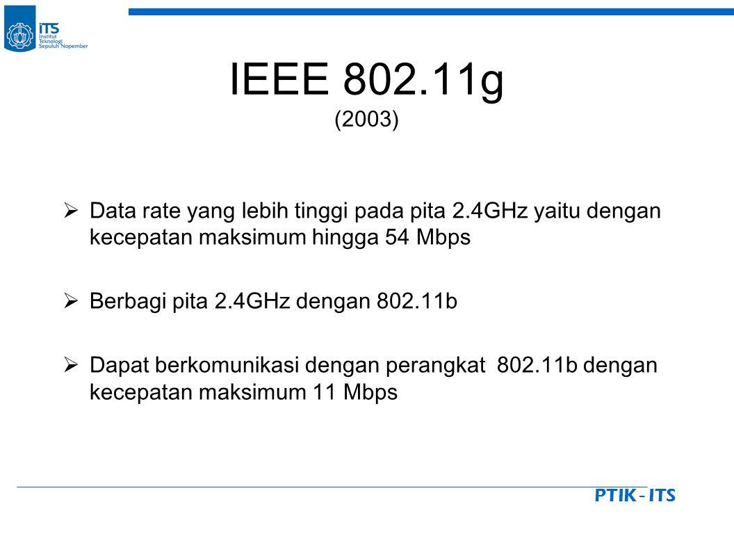 PTIK - ITS IEEE 802.11g (2003)  Data rate yang lebih tinggi pada pita 2.4GHz yaitu dengan kecepatan maksimum hingga 54 Mbps  Berbagi pita 2.4GHz dengan 802.11b  Dapat berkomunikasi dengan perangkat 802.11b dengan kecepatan maksimum 11 Mbps