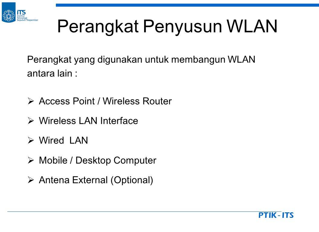 PTIK - ITS Perangkat Penyusun WLAN Perangkat yang digunakan untuk membangun WLAN antara lain :  Access Point / Wireless Router  Wireless LAN Interface  Wired LAN  Mobile / Desktop Computer  Antena External (Optional)