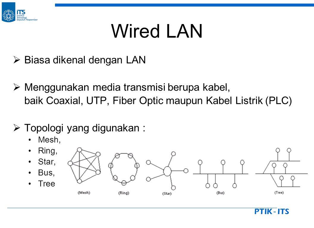 PTIK - ITS Wired LAN  Biasa dikenal dengan LAN  Menggunakan media transmisi berupa kabel, baik Coaxial, UTP, Fiber Optic maupun Kabel Listrik (PLC)  Topologi yang digunakan : Mesh, Ring, Star, Bus, Tree
