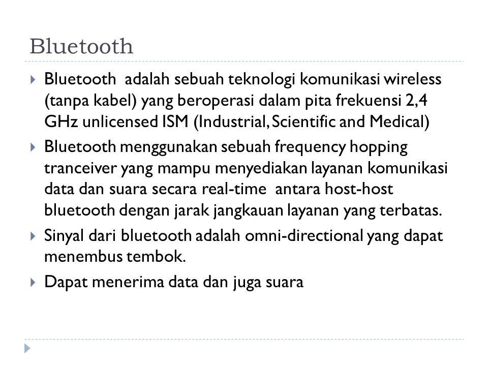 Bluetooth  Bluetooth adalah sebuah teknologi komunikasi wireless (tanpa kabel) yang beroperasi dalam pita frekuensi 2,4 GHz unlicensed ISM (Industria