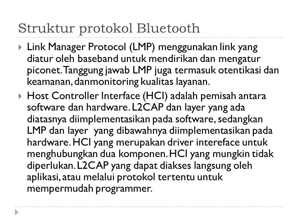 Struktur protokol Bluetooth  Link Manager Protocol (LMP) menggunakan link yang diatur oleh baseband untuk mendirikan dan mengatur piconet. Tanggung j