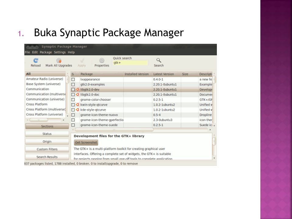 1. Buka Synaptic Package Manager