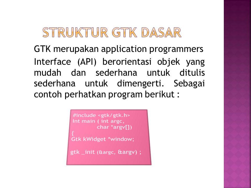 Penulisan program GTK secara garis besar sama dengan pemrograman C biasa, yang membedakakan hanyalah pemberian include gtk/gtk.h yang dapakai untuk mendeklarasikan variabel, fungsi struktur, dan sebagainya, yang akan diguanakan dalam aplikasi berbasis GTK.