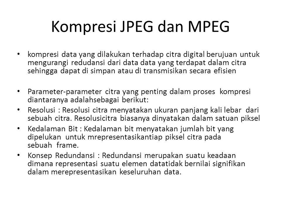 Kompresi JPEG dan MPEG kompresi data yang dilakukan terhadap citra digital berujuan untuk mengurangi redudansi dari data data yang terdapat dalam citr