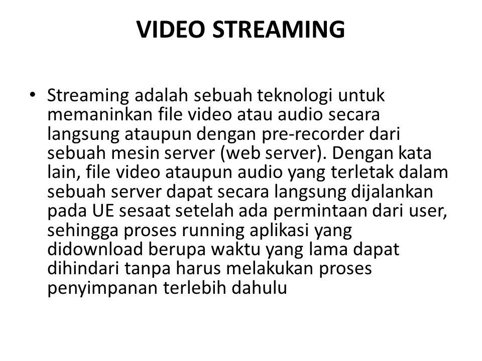 VIDEO STREAMING Streaming adalah sebuah teknologi untuk memaninkan file video atau audio secara langsung ataupun dengan pre-recorder dari sebuah mesin