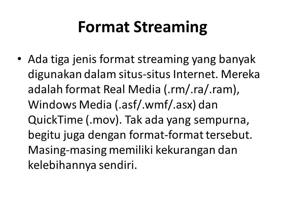 Format Streaming Ada tiga jenis format streaming yang banyak digunakan dalam situs-situs Internet. Mereka adalah format Real Media (.rm/.ra/.ram), Win