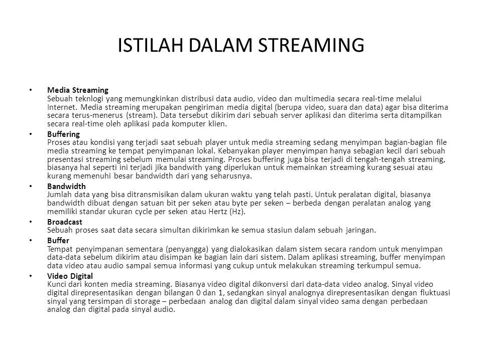 ISTILAH DALAM STREAMING Media Streaming Sebuah teknlogi yang memungkinkan distribusi data audio, video dan multimedia secara real-time melalui Interne
