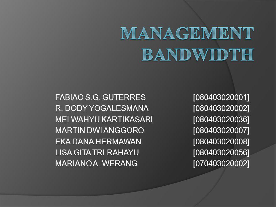 Bandwidth limiter  Bandwidth Limiter adalah sebuah cara atau aplikasi atau software untuk membatasi koneksi internet dari user dalam suatu Local Area Network atau Wide Area Network sehingga koneksi yang didapat oleh semua user dalam satu struktur jaringan, diharapkan untuk bisa hampir setara.