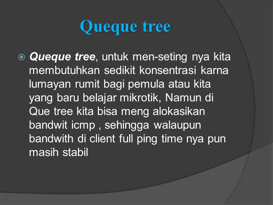 Queque tree  Queque tree, untuk men-seting nya kita membutuhkan sedikit konsentrasi karna lumayan rumit bagi pemula atau kita yang baru belajar mikro