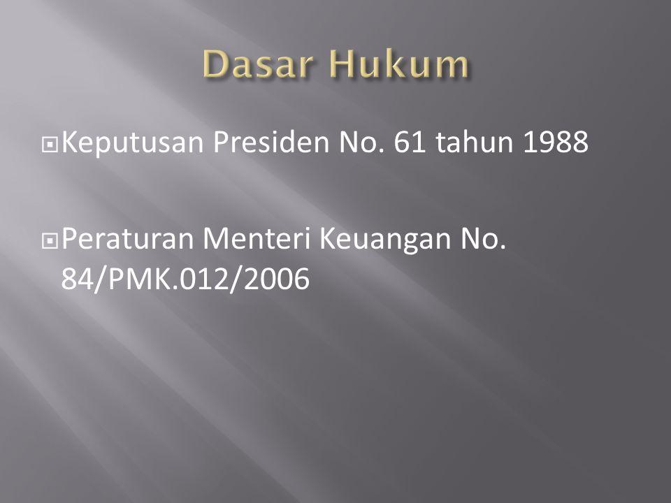  Keputusan Presiden No. 61 tahun 1988  Peraturan Menteri Keuangan No. 84/PMK.012/2006