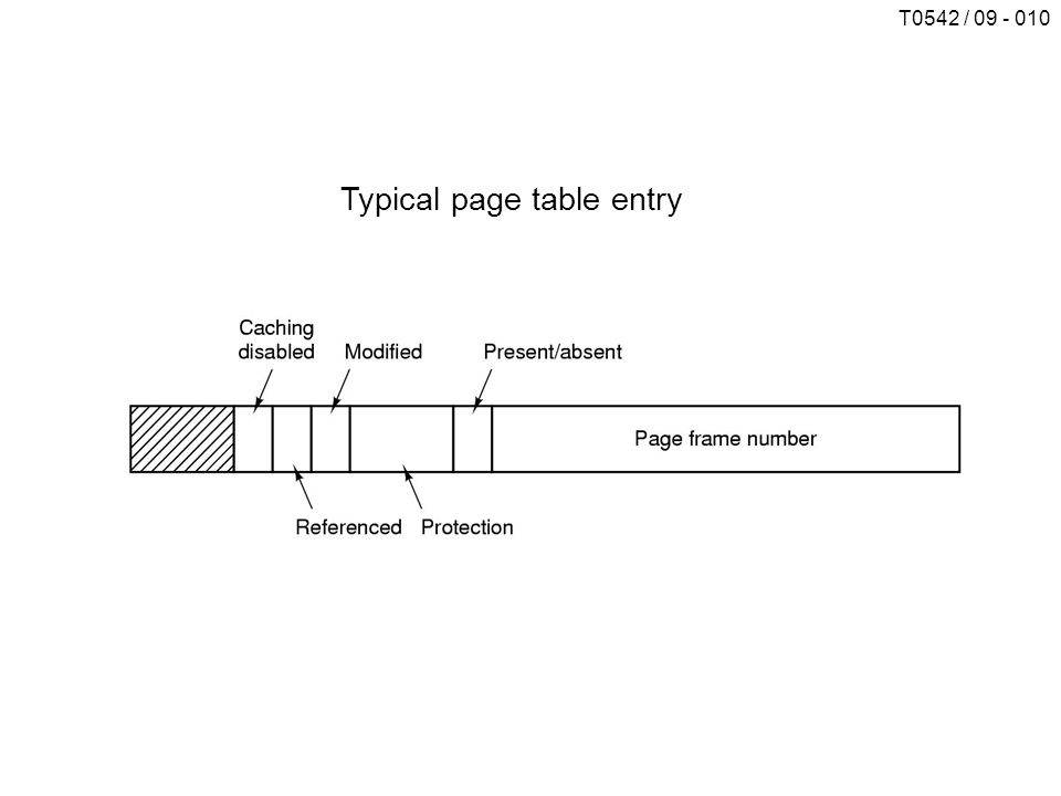 T0542 / 09 - 010 Typical page table entry
