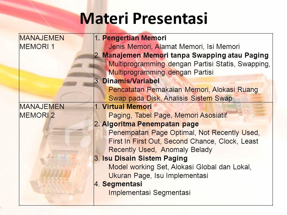 MANAJEMEN MEMORI 1 1. Pengertian Memori Jenis Memori, Alamat Memori, Isi Memori 2. Manajemen Memori tanpa Swapping atau Paging Multiprogramming dengan