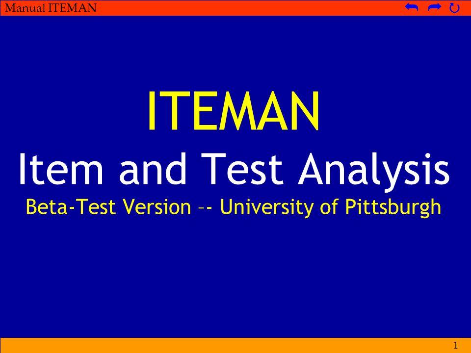 Manual ITEMAN   PERHATIKAN  Program ITEMAN sebaiknya diletakkan dalam satu folder dengan input filenya.