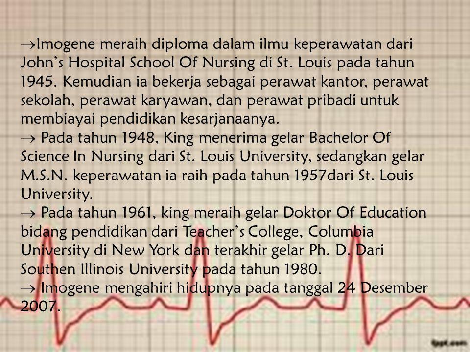  Imogene meraih diploma dalam ilmu keperawatan dari John's Hospital School Of Nursing di St.