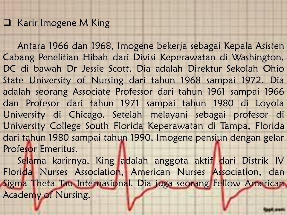  Karir Imogene M King Antara 1966 dan 1968, Imogene bekerja sebagai Kepala Asisten Cabang Penelitian Hibah dari Divisi Keperawatan di Washington, DC di bawah Dr Jessie Scott.