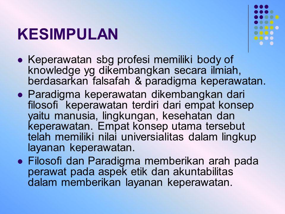 KESIMPULAN Keperawatan sbg profesi memiliki body of knowledge yg dikembangkan secara ilmiah, berdasarkan falsafah & paradigma keperawatan. Paradigma k