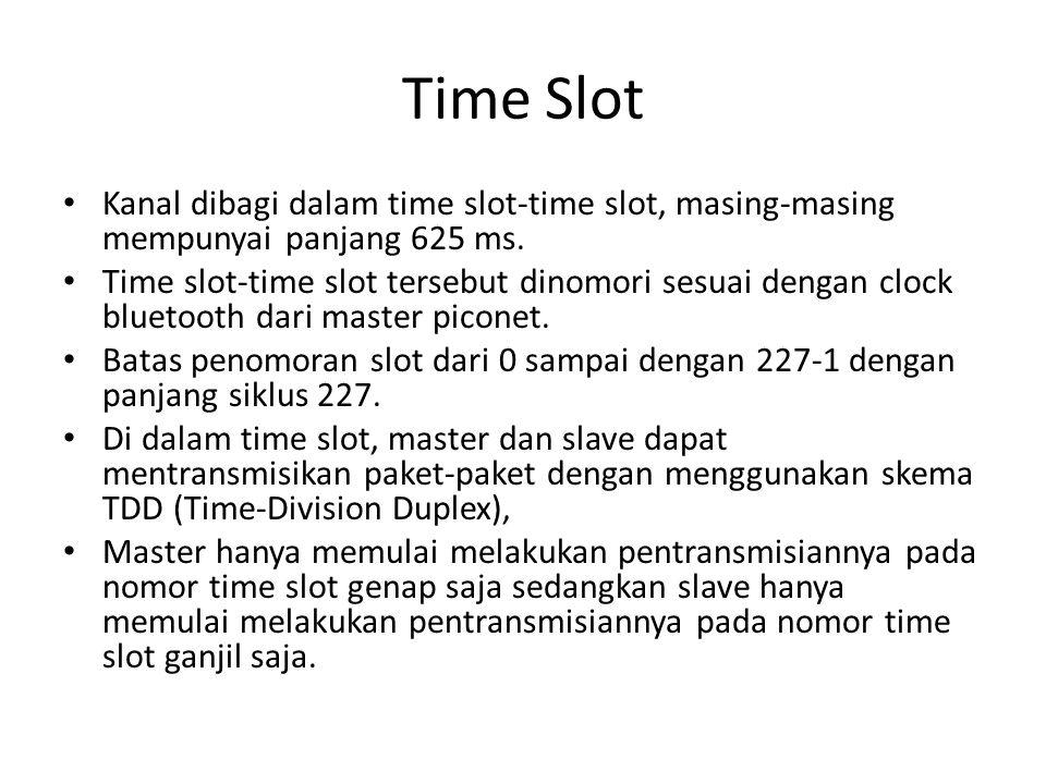 Time Slot Kanal dibagi dalam time slot-time slot, masing-masing mempunyai panjang 625 ms.