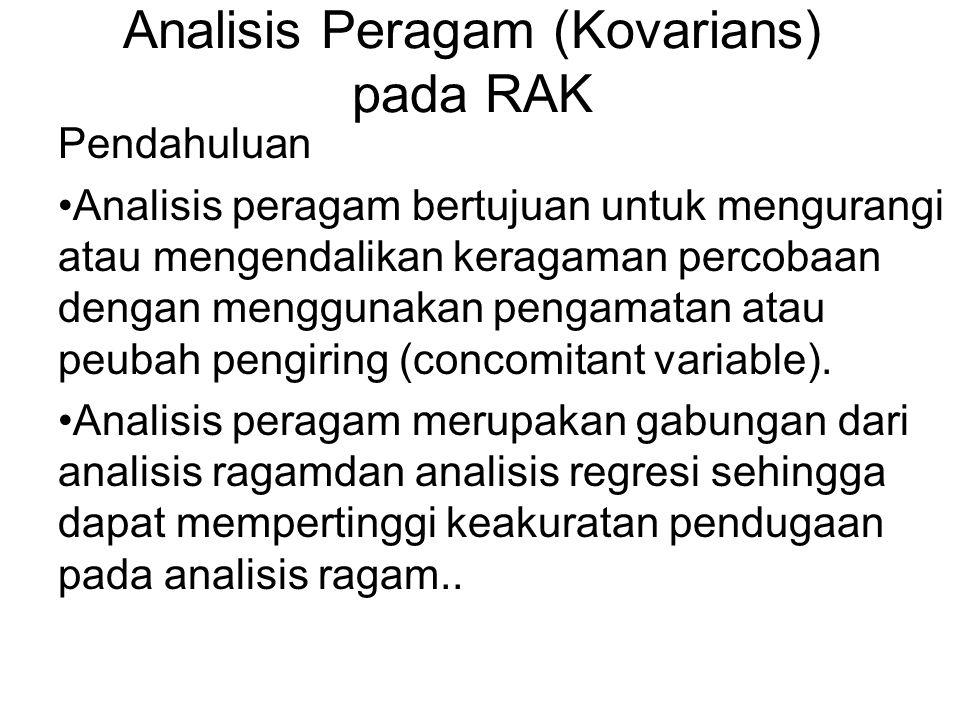 Analisis Peragam (Kovarians) pada RAK Pendahuluan Analisis peragam bertujuan untuk mengurangi atau mengendalikan keragaman percobaan dengan menggunakan pengamatan atau peubah pengiring (concomitant variable).