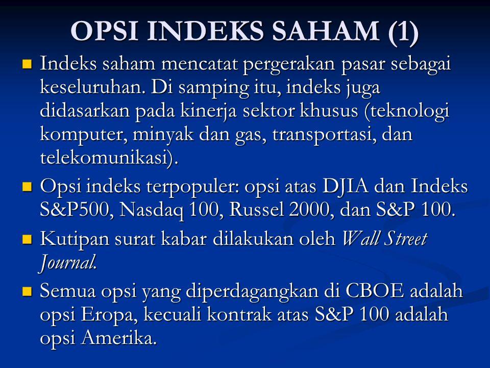 OPSI INDEKS SAHAM (1) Indeks saham mencatat pergerakan pasar sebagai keseluruhan. Di samping itu, indeks juga didasarkan pada kinerja sektor khusus (t