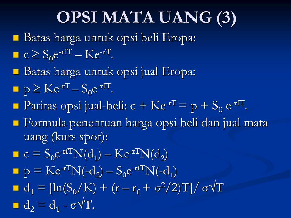 OPSI MATA UANG (3) Batas harga untuk opsi beli Eropa: Batas harga untuk opsi beli Eropa: c  S 0 e -rfT – Ke -rT. c  S 0 e -rfT – Ke -rT. Batas harga