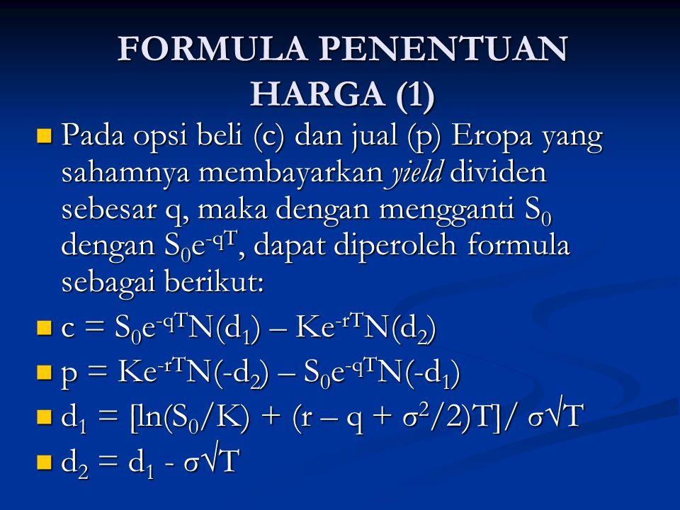 FORMULA PENENTUAN HARGA (2) Formula penentuan harga opsi tersebuut pertama kali diturunkan oleh Merton.
