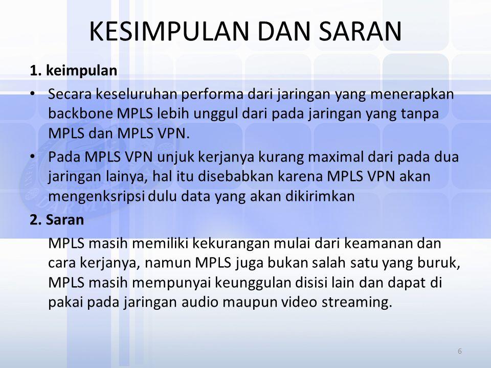 KESIMPULAN DAN SARAN 1. keimpulan Secara keseluruhan performa dari jaringan yang menerapkan backbone MPLS lebih unggul dari pada jaringan yang tanpa M