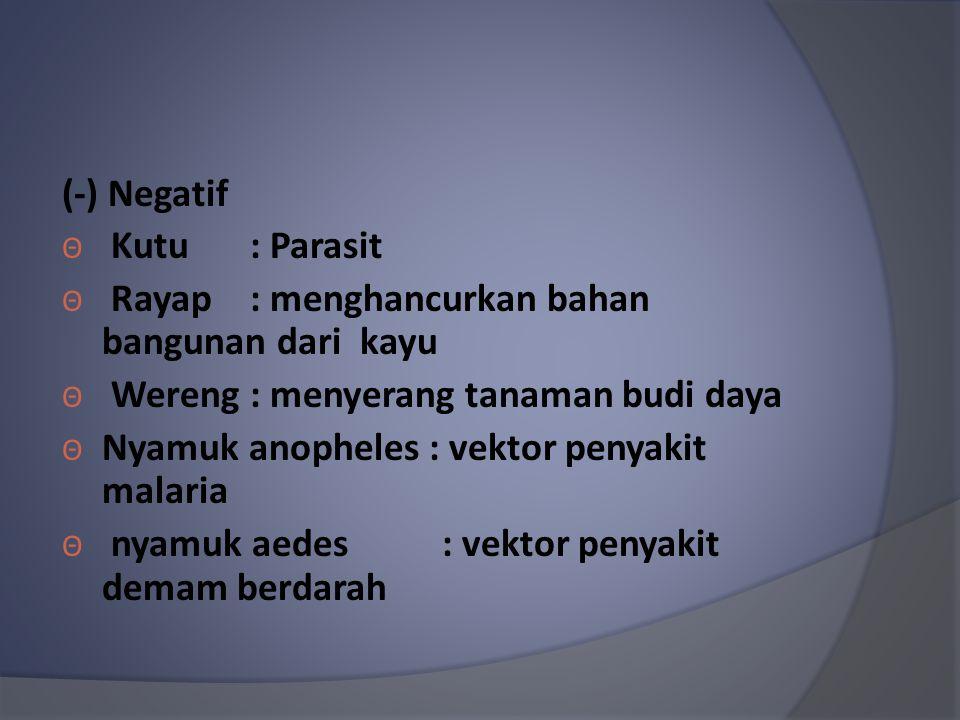 (-) Negatif Θ Kutu : Parasit Θ Rayap : menghancurkan bahan bangunan dari kayu Θ Wereng : menyerang tanaman budi daya Θ Nyamuk anopheles : vektor penya