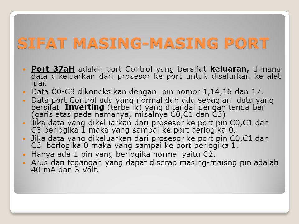 SIFAT MASING-MASING PORT Port 37aH adalah port Control yang bersifat keluaran, dimana data dikeluarkan dari prosesor ke port untuk disalurkan ke alat luar.