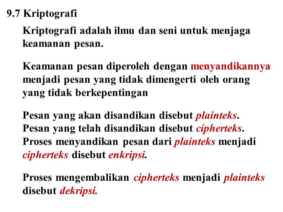 Kriptanalisis adalah ilmu dan seni untuk memecahkan cipherteks menjadi plainteks tanpa mengetahui kunci yang diberikan.
