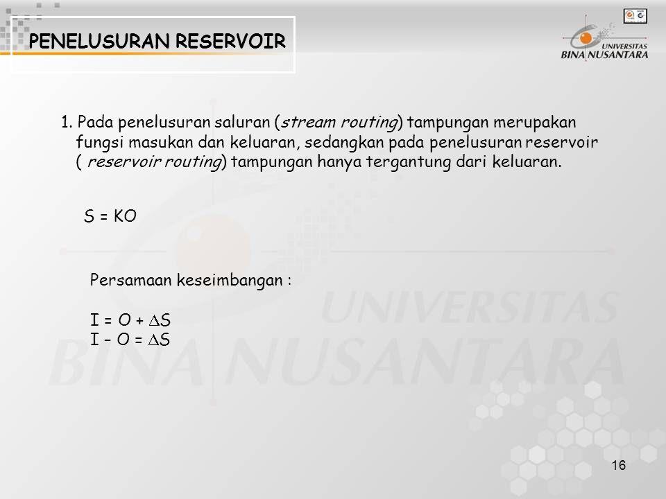 16 PENELUSURAN RESERVOIR 1. Pada penelusuran saluran (stream routing) tampungan merupakan fungsi masukan dan keluaran, sedangkan pada penelusuran rese