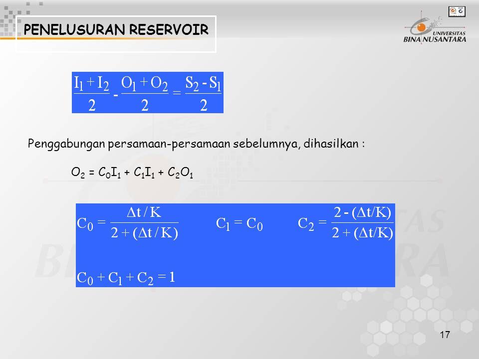 17 PENELUSURAN RESERVOIR Penggabungan persamaan-persamaan sebelumnya, dihasilkan : O 2 = C 0 I 1 + C 1 I 1 + C 2 O 1