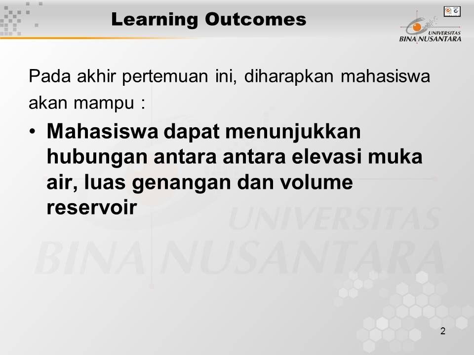 2 Learning Outcomes Pada akhir pertemuan ini, diharapkan mahasiswa akan mampu : Mahasiswa dapat menunjukkan hubungan antara antara elevasi muka air, l