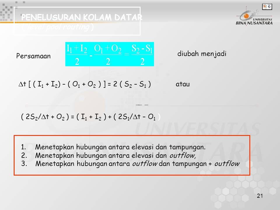 21 PENELUSURAN KOLAM DATAR ( level pool routing ) Persamaan diubah menjadi  t [ ( I 1 + I 2 ) – ( O 1 + O 2 ) ] = 2 ( S 2 – S 1 ) atau ( 2S 2 /  t +