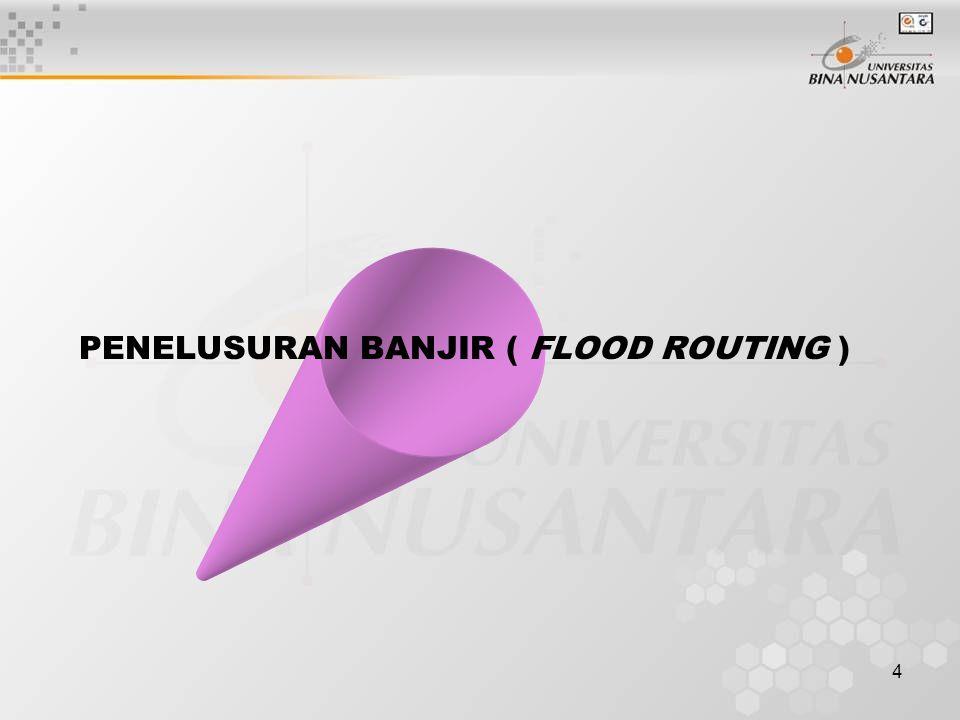 5 BATASAN Penelusuran banjir (flood routing) adalah suatu prosedure untuk menentukan perkiraan waktu dan besaran banjir di suatu titik di sungai berdasar data yang diketahui di sebelah hulu.
