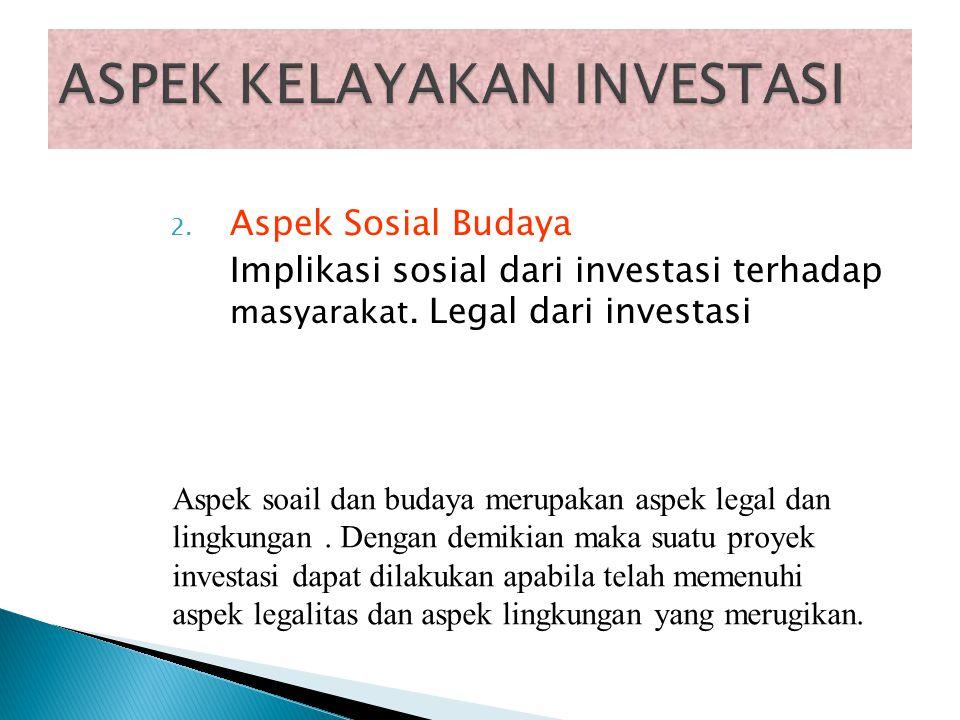 1. Aspek Teknis Jika usulan investasi tidak layak secara teknis, maka menduduki prioritas pertama untuk ditolak