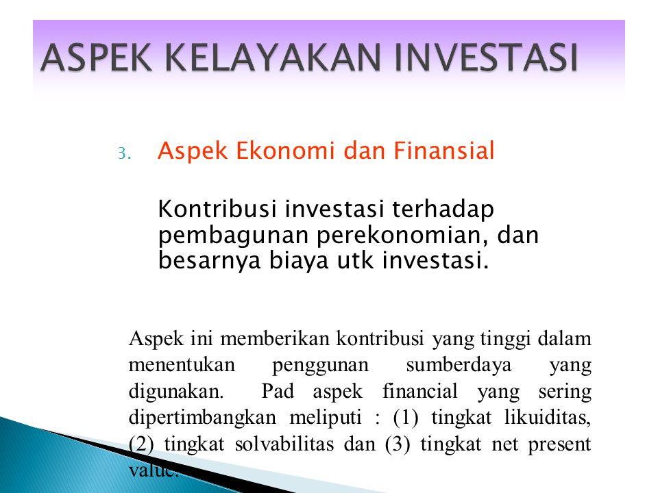 2. Aspek Sosial Budaya Implikasi sosial dari investasi terhadap masyarakat. Legal dari investasi Aspek soail dan budaya merupakan aspek legal dan ling