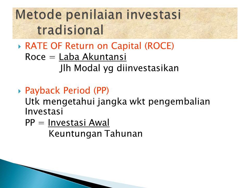 1. Metode penilaian investasi tradisional - ROCE - Payback Period 2. Metode aliran kas yang didiskontokan - Net Present Value /NPV - Internal Rate of