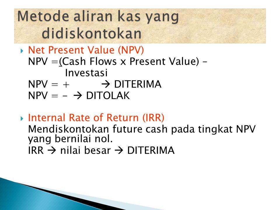  RATE OF Return on Capital (ROCE) Roce = Laba Akuntansi Jlh Modal yg diinvestasikan  Payback Period (PP) Utk mengetahui jangka wkt pengembalian Inve